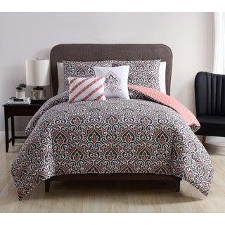 VCNY Home Corliss Coral Reversible 5-piece Comforter Set