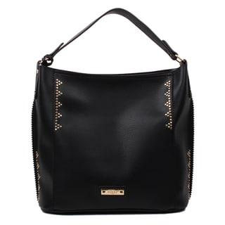 Nikky Elida Black Faux Leather Hobo Handbag