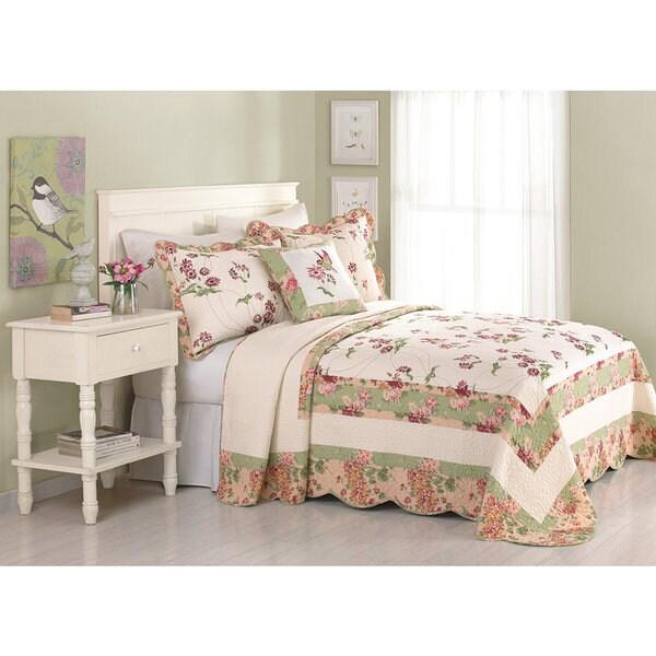 Peking Handicraft Jasmine Multicolor Cotton Floral Bedspread (Shams Sold Separately)