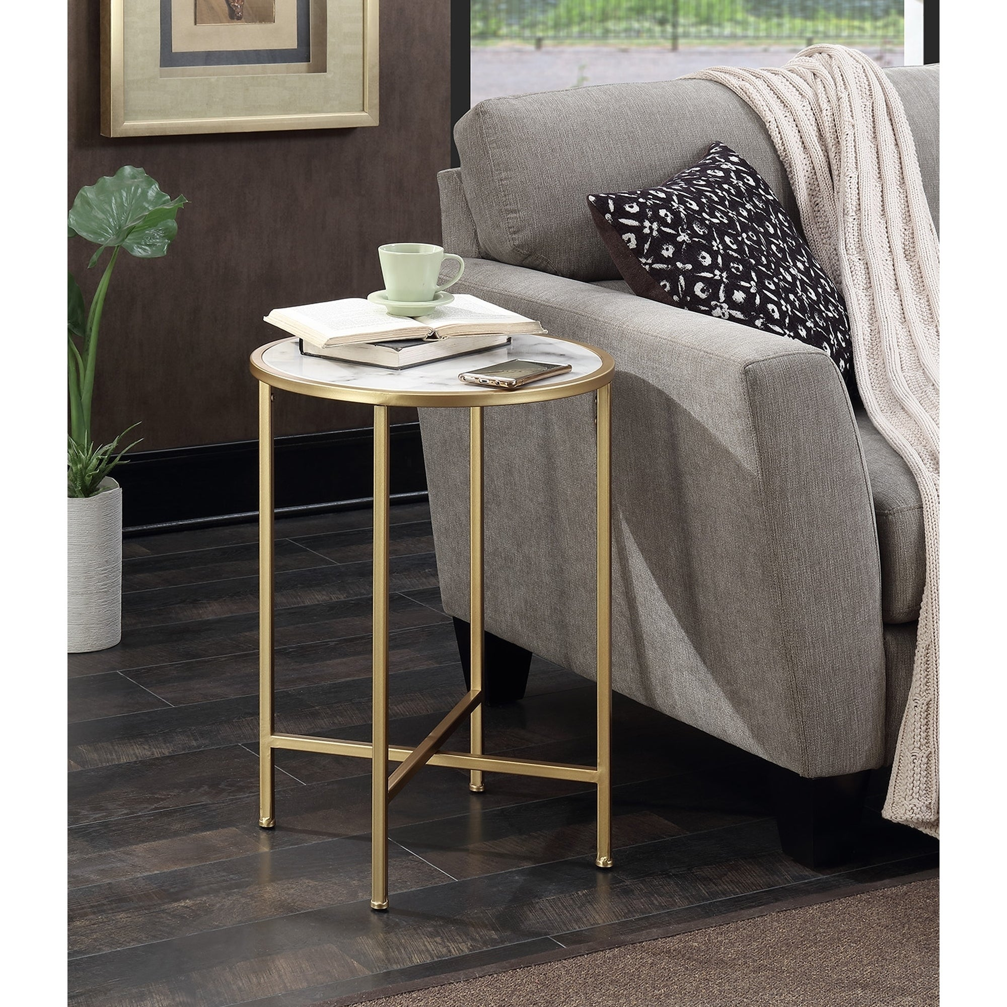 Convenience Concepts Gold Coast Faux Marble Round End Table Free Shipping On Orders Over 45 14654520