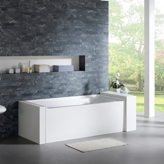 Maykke 60-inch Pensacola White Alcove Bathtub