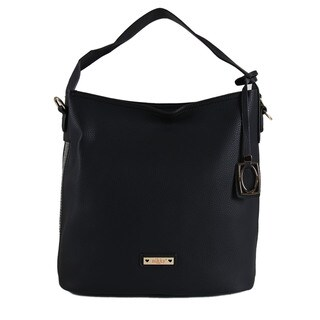 Nikky Flis Black Faux Leather Hobo Handbag