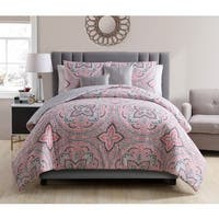 VCNY Home Allison Coral\Grey Reversible 5-piece Comforter Set