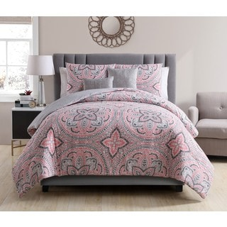 Nice VCNY Home Allison Coral\Grey Reversible 5 Piece Comforter Set