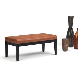 WYNDENHALL Abbey Faux Leather Tufted Ottoman Bench
