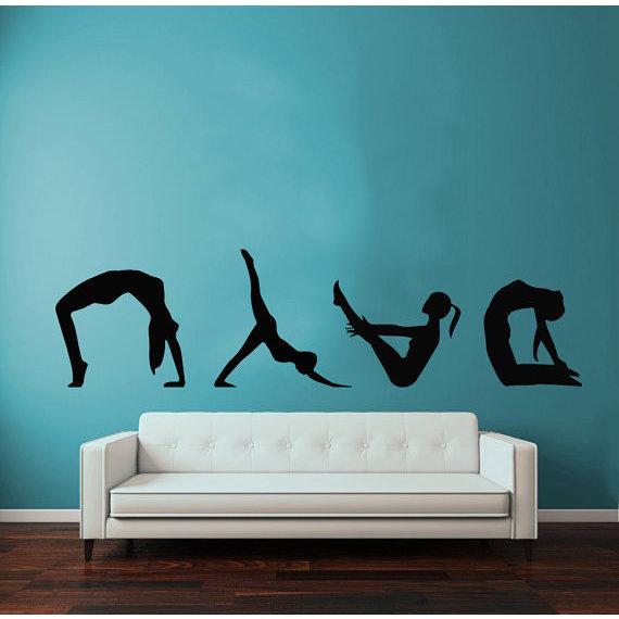 Shop exercise girl meditation gym pilates sport woman vinyl sticker
