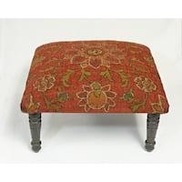 Corona Decor Flora Rosette Design Red Footstool