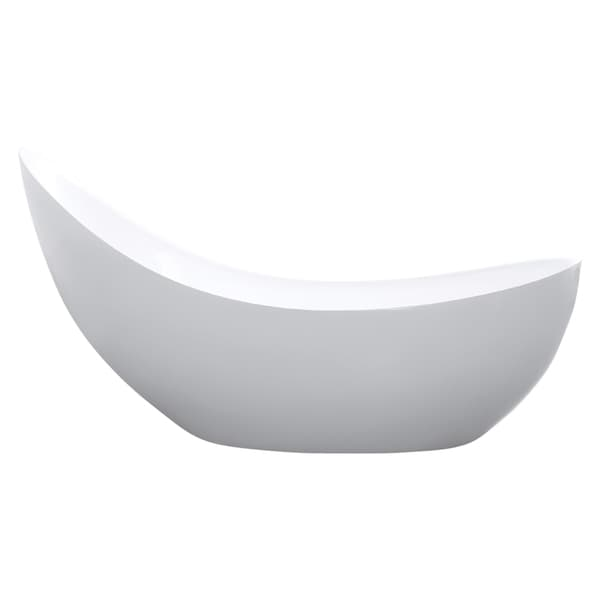 Maykke 79 Inch Hialeah White Freestanding Bathtub   Free Shipping Today    Overstock.com   21192048