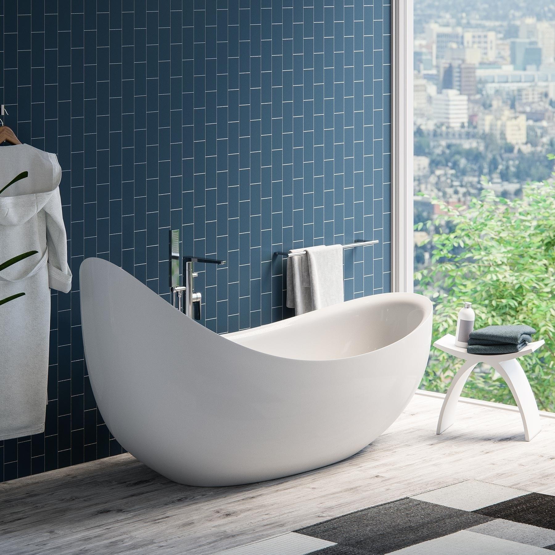 Maykke 79-inch Hialeah White Freestanding Bathtub (79 Inc...