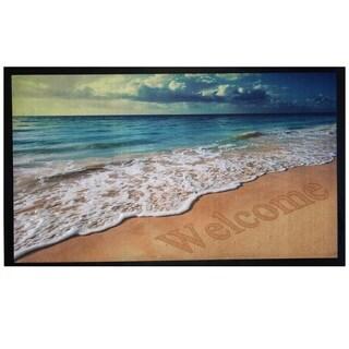 Home Fashion Designs Bora Bora Collection Printed Outdoor Beach Sunrise Theme Welcome Mat (18-inch x 30-inch)