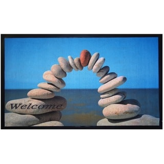 Home Fashion Designs Bora Bora Collection Stacked Stones Theme Printed Outdoor Welcome Mat