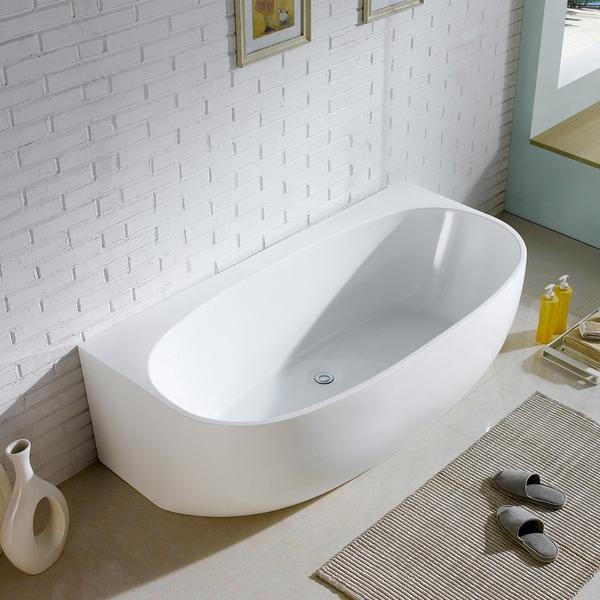 Maykke 68-inch Ocala White Freestanding Bathtub