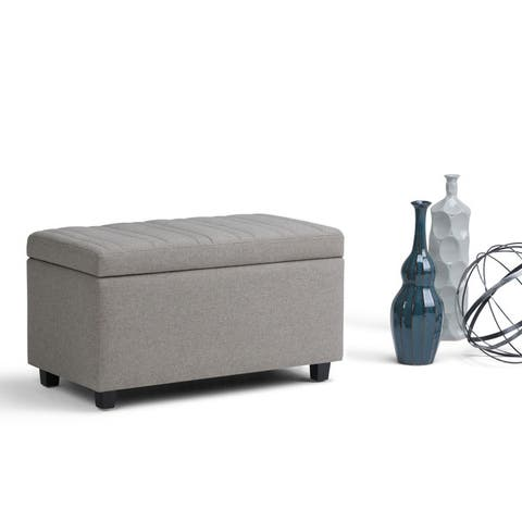 WYNDENHALL Callum 34 inch Wide Contemporary Rectangle Storage Ottoman