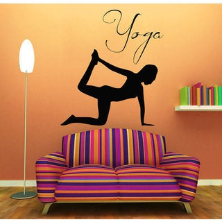 Exercise Girl Meditation Gym Pilates Sport Woman Vinyl Sticker Home Wall Art Kids Room Sticker Decal size 44x52 Color Black