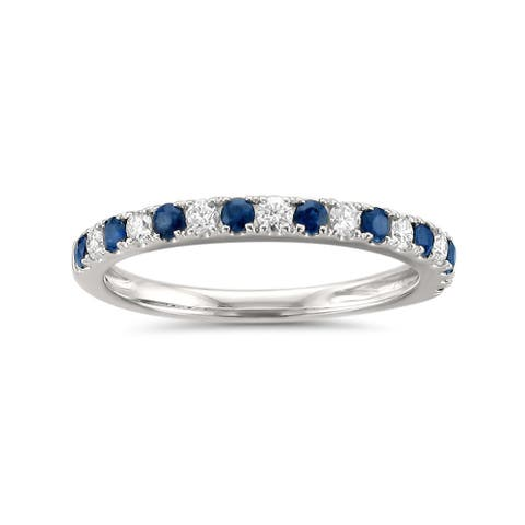 Montebello Jewelry 14k White Gold 1/3ct TGW Blue Sapphire and Diamond Wedding Band