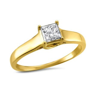 Montebello Jewelry 14k Yellow Gold 1/2ct TDW Princess-cut Solitaire Engagement Ring (H-I, I1)