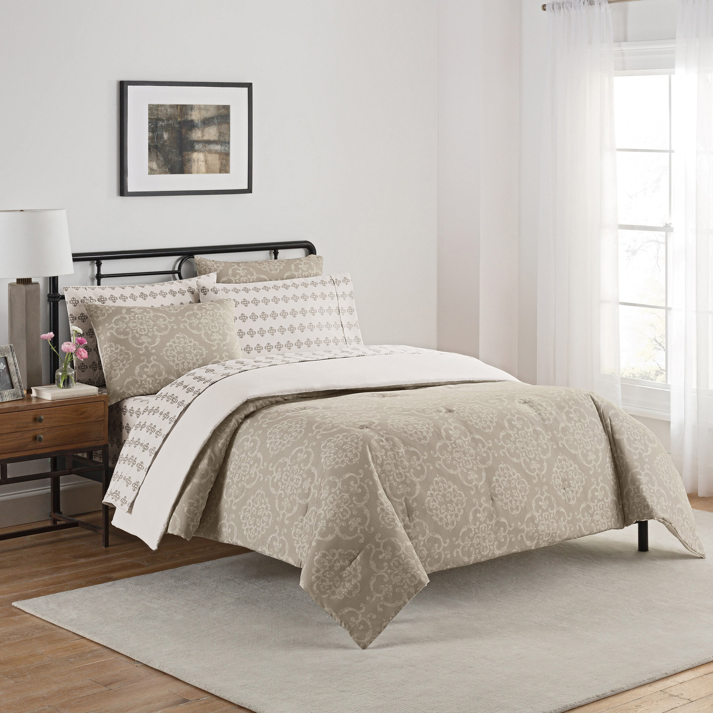 Simmons Lyon Bedding and Sheet Set (Queen - Grey) (Polyes...