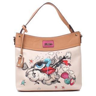 Nikky Aries Beige Faux Leather Hobo Handbag