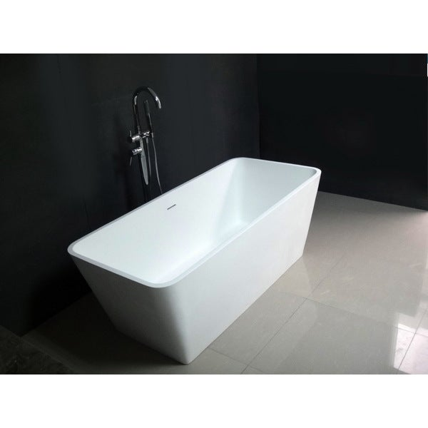 Superb Contemporary 59 Inch Solid Surface Freestanding Rectangular Bathtub
