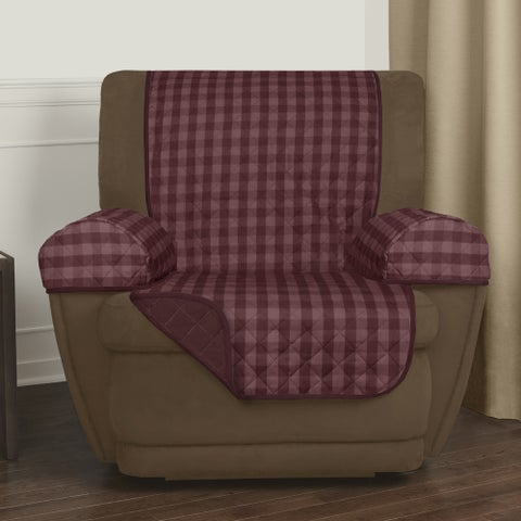 "Maytex Reversible Buffalo Check 3-Piece Recliner Furniture Cover - 25x69"" without arms"