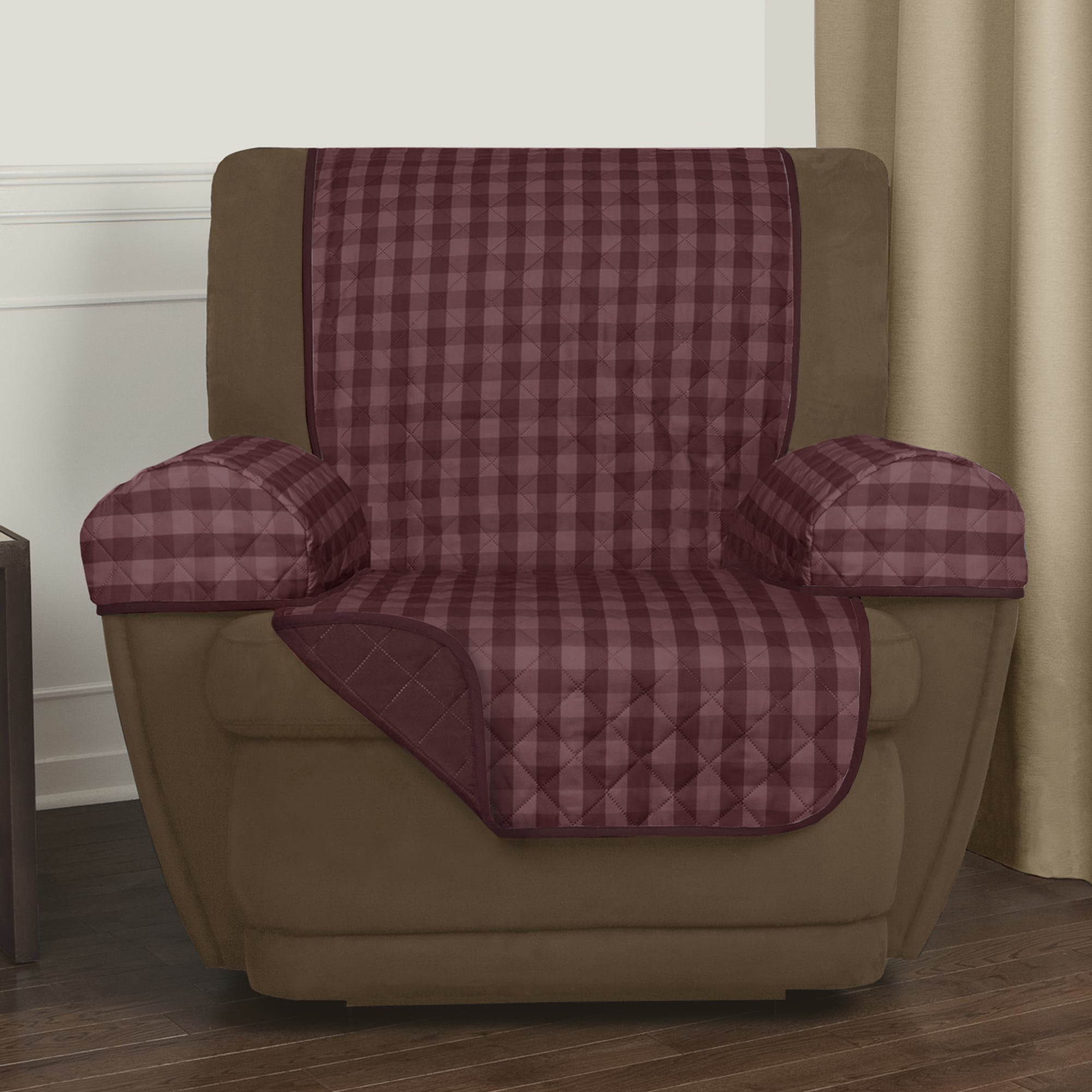 Maytex Reversible Buffalo Check 3 Piece Recliner Furniture Cover 25x69 Without Arms