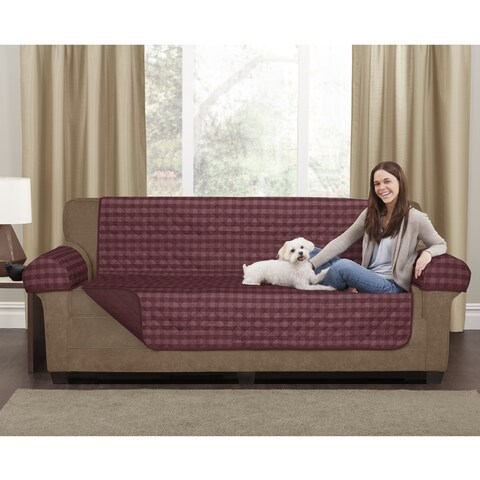 """Maytex Reversible Buffalo Check 3-Piece Loveseat Furniture Cover - 45x69"""" without arms"""