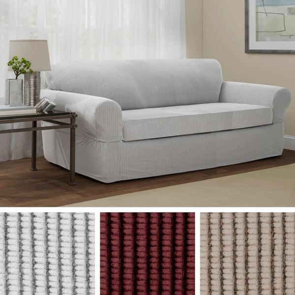 Shop Maytex Connor Grid Stretch 2 Piece Sofa Furniture Slipcover ...