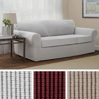 Maytex Connor Grid Stretch 2 Piece Sofa Furniture Slipcover