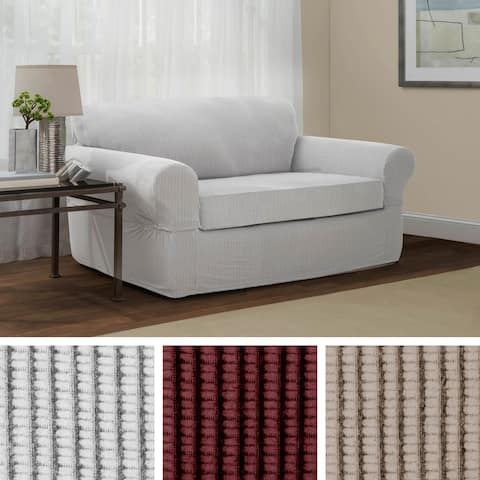 Maytex Connor Grid Stretch 2 Piece Loveseat Furniture Slipcover