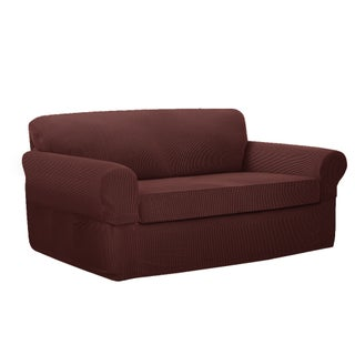 Maytex Connor Stretch 2-Piece Loveseat Slipcover (Option: Red)