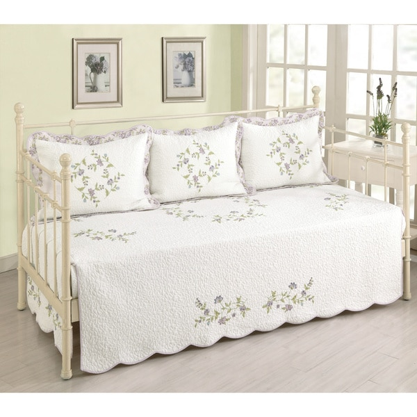 Kristen Floral Embroidery White Cotton Quilted Daybed Cover (Shams sold seperately)