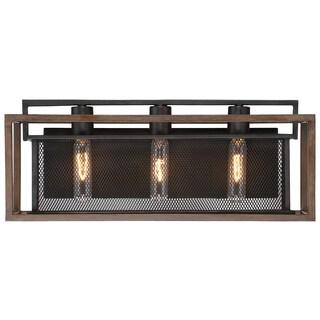 Varaluz Rio Lobo 3-light Dark Oak/Black Bath Fixture
