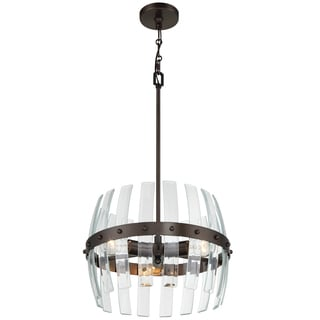 Varaluz Carson 3-light Coffee Bronze Pendant with Clear Recycled Beveled Glass