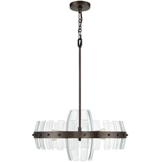 Varaluz Carson 4-light Coffee Bronze Pendant with Clear Recycled Beveled Glass