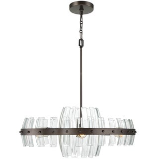 Varaluz Carson 6-light Coffee Bronze Pendant with Clear Recycled Beveled Glass