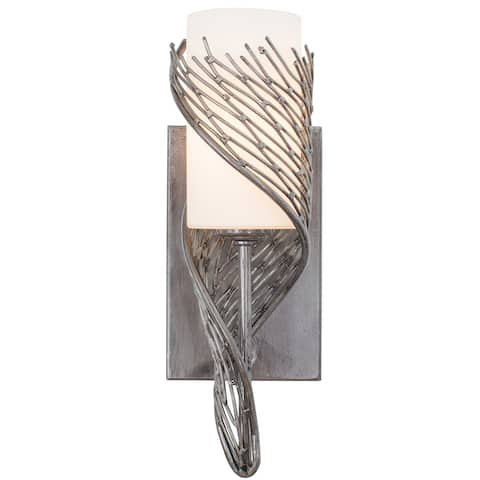 Varaluz Flow 1-light Steel Right Wall Sconce with Gloss Opal Glass