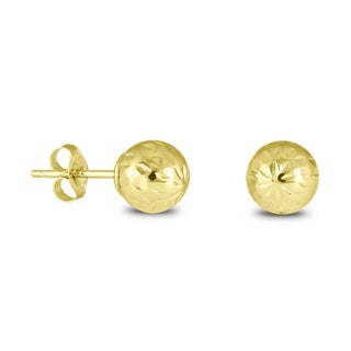 Marquee Jewels 14k Yellow Gold Diamond-Cut Ball Earrings