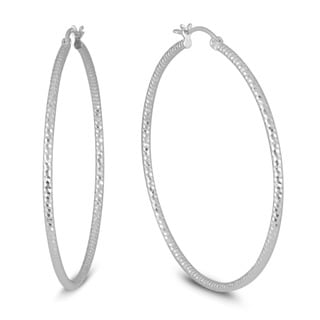 Marquee Jewels .925 Sterling Silver 50 mm Diamond-Cut Hoop Earrings