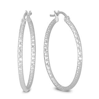 Marquee Jewels .925 Sterling Silver 30 mm Diamond-Cut Hoop Earrings