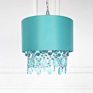 Tracy Porter Poetic Wanderlust Purple 17.5-inch High Alisal Hanging Lamp with Cascading Crystals