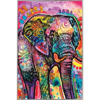 Dean Russo Elephant 24-inch x 36-inch Print With Silver Metal Frame