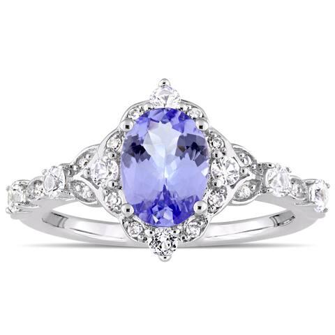 Miadora Signature Collection 14k White Gold Tanzanite, White Sapphire, Diamond Accent Engagement Ring