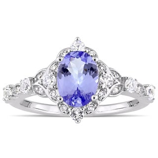 Miadora Signature Collection 14k White Gold Oval-Cut Tanzanite White Sapphire and Diamond Accent Engagement Ring (G-H, I1-I2)