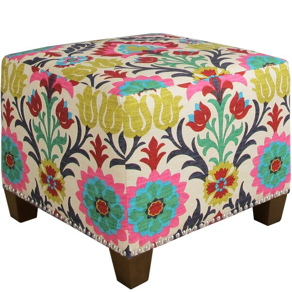 Skyline Furniture Santa Maria Desert Flower Nail Button Ottoman