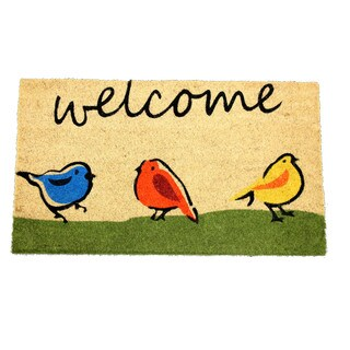 Welcome Birds Multicolor Coir 17-inch x 29-inch Doormat