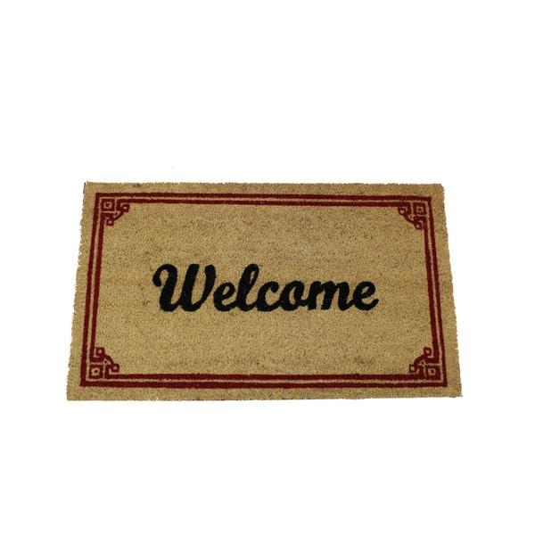 Shop Red Coir 17 Inch X 29 Inch Welcome Door Mat On Sale Free