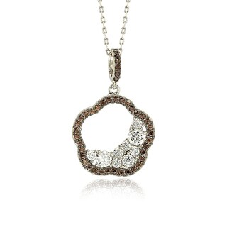 Suzy Levian Sterling Silver Chocolate Cubic Zirconia Half Moon Cluster Flower Pendant