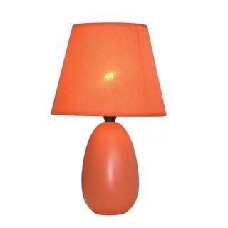 Simple Designs Mini Egg Orange Ceramic Oval Table Lamp