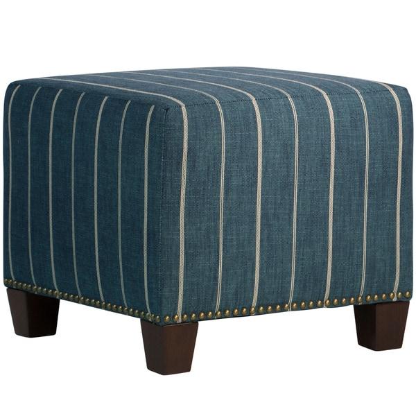 Skyline Furniture Fritz Indigo Nail Button Ottoman
