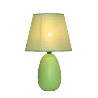 Simple Designs Mini Egg Green Ceramic Oval Table Lamp
